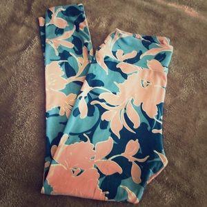 LuLaRoe Onesize Blue & Pink Floral Leggings